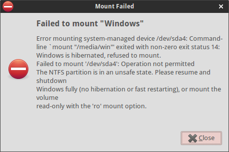 Failed to mount Windows partition